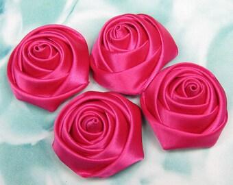 Rose, Satin Rose, satin Flower, 8PCS Satin fabric flowers, Shocking Pink Rose Flowers, applique rose, ribbon rose, handmade rose 35x18mm