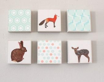 woodland nursery art, pink nursery art, geometric prints, animal prints, Choose (6) SIX of our Custom Designs 5x5,  art block, redtilestudio