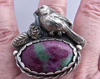 Sterling Silver, Handmade, 925, Rose, Pink and Green, White Copper, Natural Ruby Zoisite Cabochon, Bird Ring size 8 1/2