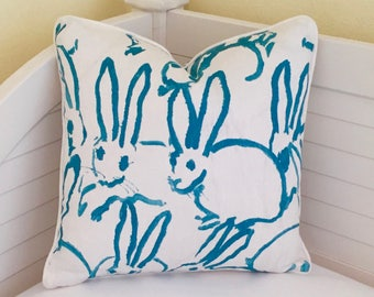 Groundworks Bunny Hutch Turquoise on Both Sides Designer Pillow Cover with Piping - Square, Lumbar and Euro Sizes