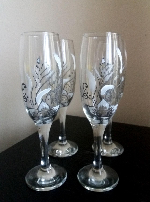 Glasses Champagne Glasses Set 4 Hand Painted Wedding