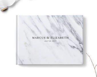 Marble wedding guest book, Landscape or Portrait, Wedding guest book, Black Gray gb0114