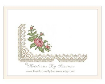 Lace Corner and Lace Edging with Roses - Original Machine Cross Stitch Design - Floral Machine Embroidery Pattern - HBS-14-A-B