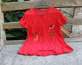 M-L Short Sleeves Bohemian Embroidered Top - Red