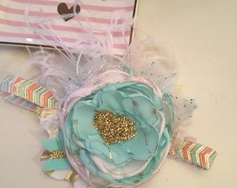 Conversation hearts valentine flower headband, baby headband, toddler headband, dollcake, oh so girly, headband