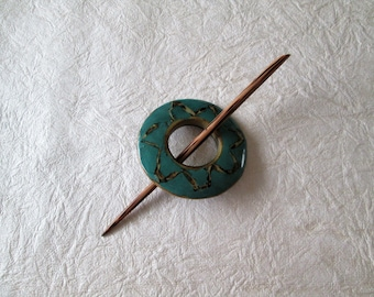Shawl pin, wood with painted acrylic overlay, faux turquoise, hair accessory