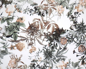 Delicate Neutral Botanical Floral Print Stretch Cotton Sateen Fabric--By the Yard