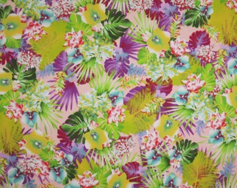 Shades of Green with Purple Tropical Floral Print Stretch Cotton Twill Fabric--By the Yard