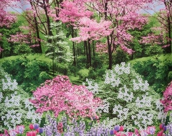 REMNANT--Pink and Green Stunning Landscape Border Print Pure Cotton Fabric--5/8 YARD