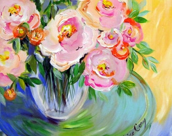 Peonies Original Painting Canvas Art 20 x 24 Fine art by Elaine Cory