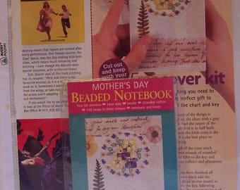 Beaded notebook cross stitch kit to make one Mother's Day theme