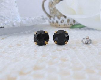 Swarovski Crystal Studs, Jet Black Studs, Rhinestone Stud Earrings, Glass Jewel Studs, Crystal Earrings, Black Post Earrings, Modern Studs