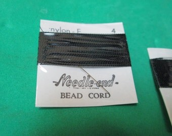 One (1) 2 Yard Card of Size 4 Needle End Bead Cord - Black Nylon - E