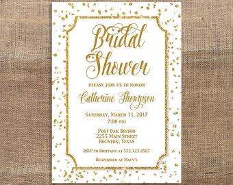 Bridal Shower Invitation, White and Gold Glitter Confetti Invite, Wedding Shower Invite, DIY PRINTABLE