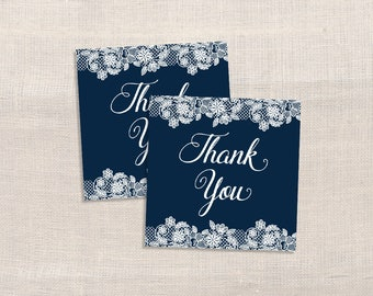 Navy Thank You Tags, Navy & White Lace Favor Tags, Shower Tags, DIY Printable, INSTANT DOWNLOAD