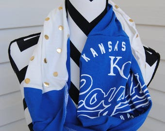 Kansas City Royals Upcycled T-Shirt Infinity Scarf
