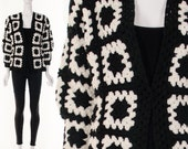 60s Black White Crochet GRANNY Square Jacket Hand Knit Cardigan Hippie Sweater Graphic Avant Garde Bohemian Sweater Jacket Small Medium
