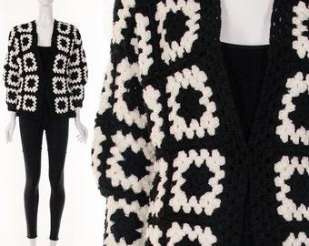 60s Black White Crochet GRANNY Square Jacket Hand Knit Cardigan Hippie Sweater Graphic Avant Garde Bohemian Sweater Jacket Small Medium