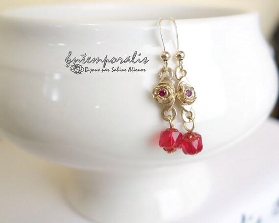 Bronze earrings with pink corundum and bohemian beads, OOAK, SABO23