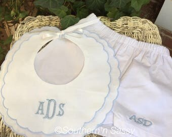 Monogrammed Blue Scalloped Edge Bib and Boxer Set For A Baby Boy