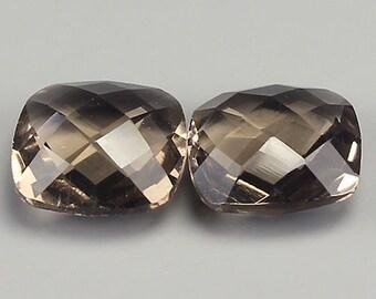 SMOKY QUARTZ (32612) ### PAIR (2 Stones) Sparkling! Checkboard  Smoky Quartz  (Quartz)