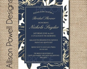 Modern Gold and Navy Engagement Party, Bridal Shower, Wedding, Shower  Invitation - Print your own - Watercolor, gold and white