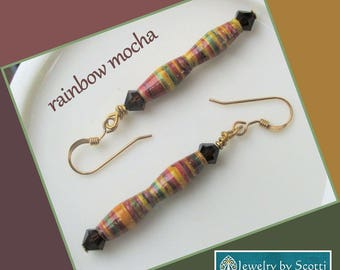 Striped Paper Bead Earrings, Gold Filled French Hook Earrings, Paper Bead Jewelry, Rainbow Beaded Earrings, Matching Necklace Available