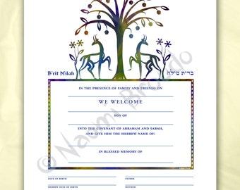 Digital/Editable download B'rit Milah Certificate, Biblical Animals and Flowers, pdf form, purple