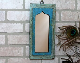 Mirror Reclaimed Vintage Indian Door Panel Wall Hanging Art Distressed Mirror Moroccan Decor Turkish Blue and Denim