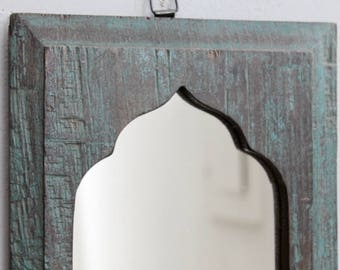 Moroccan Mirror Vintage Wood Framed Mirror Reclaimed Distressed Dark Turquoise Green Wall Art