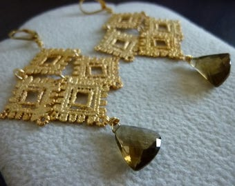 Triangular Beer Quartz and Textured Metal Lace Waterfall Earrings, Chandelier, Statement Earrings, Dangle Earrings, Bohemian