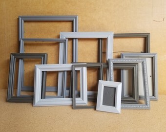 Gallery Frames in 3 Shades of Gray with Glass and Backing ; Wall Decor; Wedding Decor; Instant Frame Collection