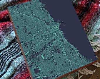 Chicago Street map - Chicago Map Art - Chicago Map Print - Wood Block Art Print