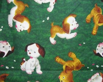 Poky Puppy on dark green grass Little Golden Book fabric ( by the half yard )