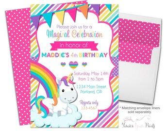 Rainbow Unicorn Invitation, Girls Birthday Invitation, Unicorn Invitation, Unicorn Birthday Invitation, Rainbow Birthday Invitation