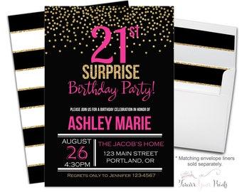21st Birthday Invitation, 21st Birthday Invite, Surprise Party Invitation, Surprise Party Invite, Adult Birthday Invite, Black and Gold