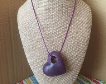 Crayon sideways heart necklace