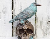 ON SALE Skull Decor / Patina and Bronze Skull With Raven
