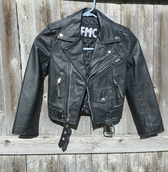 Genuine vintage leather xs biker's jacket.  Black