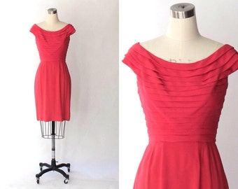 1950s Crepe Sheath Dress // 50s Vintage Watermelon Pink Bateau Neck Dress // Small
