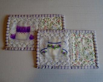 Tea Cup Quilted Mug Rugs, Quilted Floral Coasters, Fabric Coasters, Mug Rug  Mug Mats, Lavender Mug Rug, Snack Mat, Floral Mug Cozy