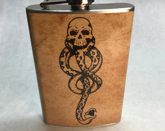 The Dark Mark Flask, Harry Potter Gift, Stainless Steel Flask, Vinyl Wrapped, Geeky Gift Idea, Book Lovers