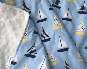Baby Boy Blanket, Sailboat Bedding, Nautical Blanket, Sailboat Blanket, Boy Crib Bedding, Nautical Nursery, Preppy Boy Blanket, Personalized