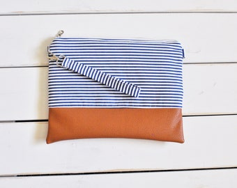 STRIPES COLLECTION - Navy blue Mommy Clutch - Wallet Clutch - Small handbag - Blue Wristlet - Wallet Clutch
