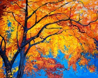 Original Oil Painting on Canvas-Autumn painting of tree 26x20 Seascape Painting- Modern- Art Impressionistic Oil on Canvas by Ivailo Nikolov