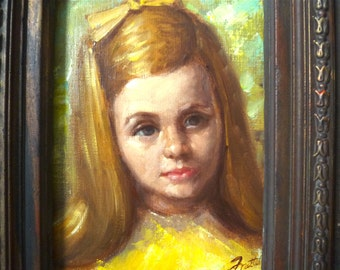 "Vintage 1960s Young Girl Portrait Painting on Canvas ... Ornate Frame, Dark Blonde Hair, Yellow Bow, Midcentury Portrait, 19"" x 16"", Frattel"