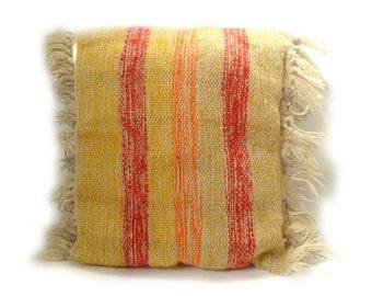 Vintage Boho Woven Striped Wool Pillow ... Fiber Art, Fringed, Red Yellow Orange, Square Pillow, Bohemian Decor, Rustic Handmade Sunny
