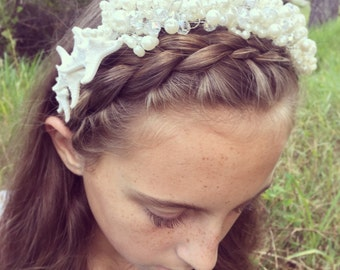 Pearl & Crystal Starfish Crown + Headband + Mermaid Headpiece + Beach Wedding Crown + Bridal Tiara + Flower Girl Hair + Sea Shell Queen