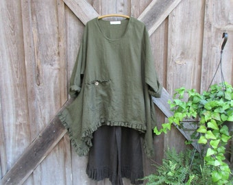 linen contemporary tunic dress in moss olive avocado green ready to ship