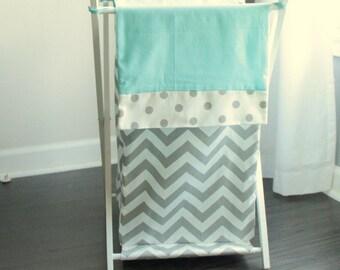 Gray and White Aqua blue Chevron polka dot Baby Hamper